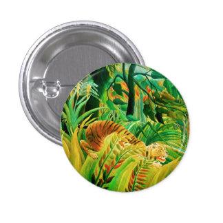 Tigre de Henri Rousseau en un botón tropical de la Pin Redondo De 1 Pulgada