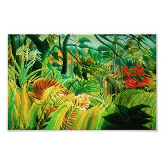 Tigre de Henri Rousseau en una impresión tropical  Fotografías