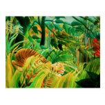 Tigre de Henri Rousseau en una postal tropical de