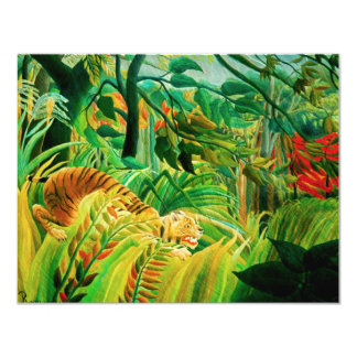 "Tigre de Henri Rousseau en una tormenta tropical Invitación 4.25"" X 5.5"""