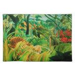 Tigre de Henri Rousseau en una tormenta tropical P Manteles Individuales