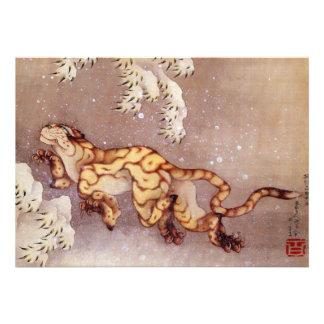Tigre de Katsushika Hokusai en el Snow Comunicados Personalizados