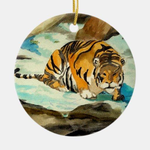 Tigre de la acuarela adorno redondo de cerámica
