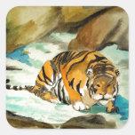 Tigre de la acuarela calcomanías cuadradass