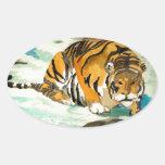 Tigre de la acuarela pegatinas ovales