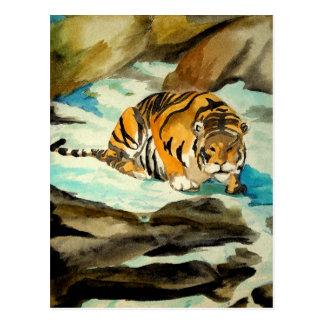 Tigre de la acuarela tarjeta postal