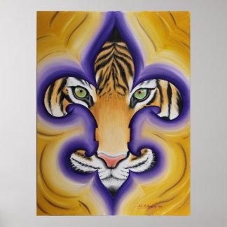 Tigre de la flor de lis póster
