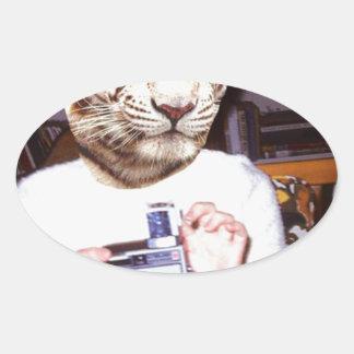 Tigre de la foto pegatina ovalada
