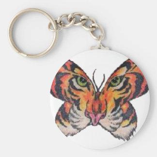 tigre de la mariposa de la diversión llavero redondo tipo pin