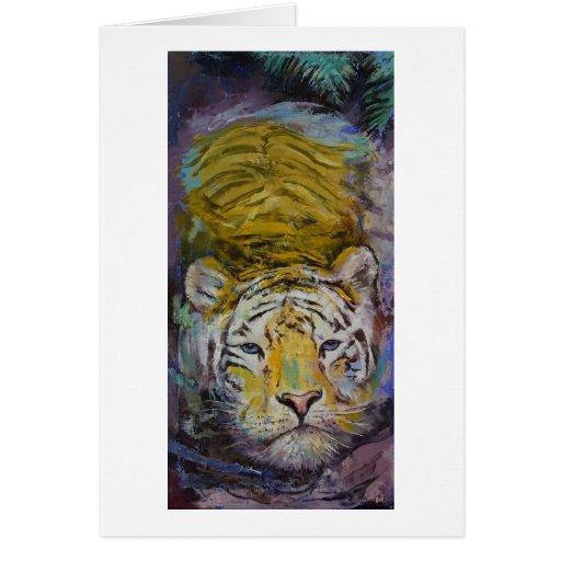 Tigre de la natación tarjeta de felicitación