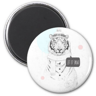 Tigre de la nieve imán redondo 5 cm