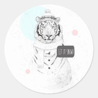 Tigre de la nieve pegatina redonda