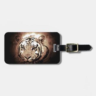 Tigre de la sepia etiqueta de equipaje