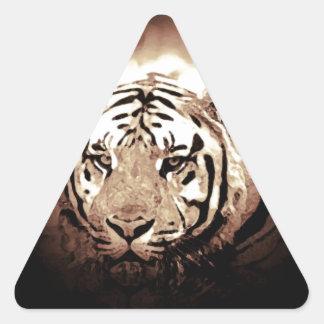 Tigre de la sepia pegatina triangular
