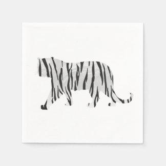 Tigre de la silueta blanco y negro servilletas desechables