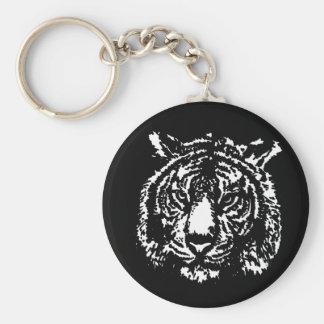 Tigre de la silueta llavero redondo tipo pin