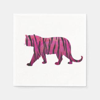 Tigre de las rosas fuertes y del negro de la servilletas de papel