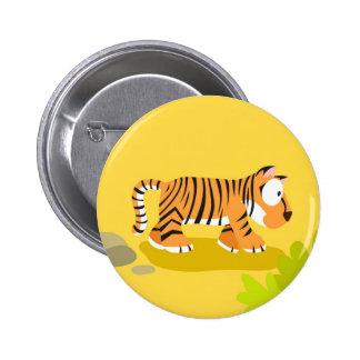 Tigre de mi serie de los animales del mundo pin redondo de 2 pulgadas
