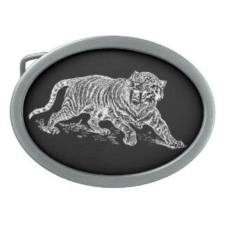 Tigre de Sabertooth Hebillas De Cinturón Ovales
