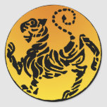 Tigre de Shotokan - oro Pegatinas Redondas