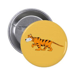 Tigre de Stripey Pin Redondo De 2 Pulgadas