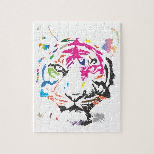 Tigre del arco iris rompecabezas con fotos