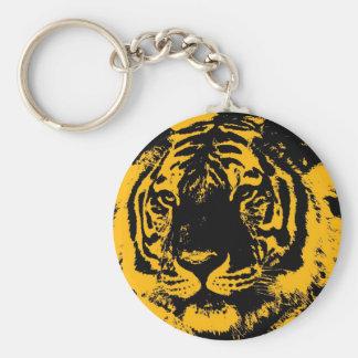 Tigre del arte pop llavero redondo tipo pin