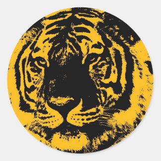 Tigre del arte pop etiqueta redonda