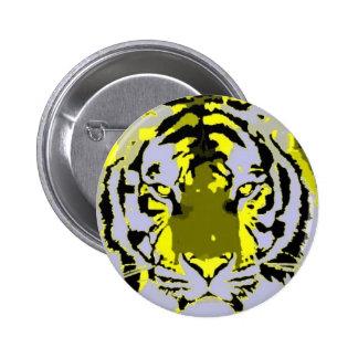Tigre del arte pop pin redondo de 2 pulgadas