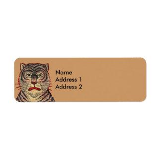 Tigre del asiático del vintage etiquetas de remite