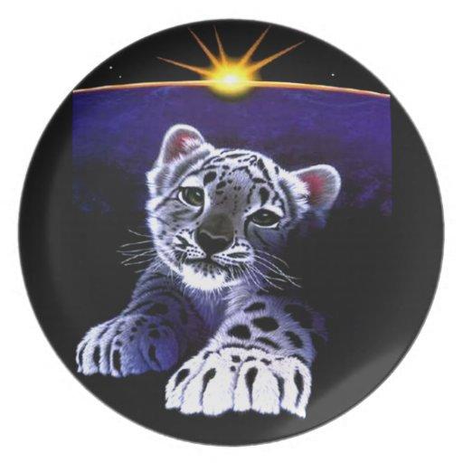 Tigre del blanco del bebé plato de cena