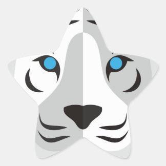 Tigre del blanco del dibujo animado pegatina forma de estrella