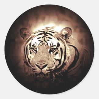 Tigre del color de la sepia pegatina redonda