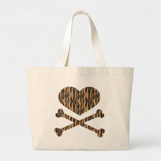 tigre del corazón y de la bandera pirata bolsas de mano