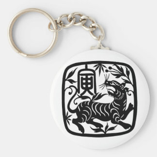 Tigre del corte del papel chino llaveros personalizados