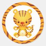 Tigre del dibujo animado con la impresión del pegatinas redondas