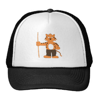 Tigre del dibujo animado con taco de billar gorra