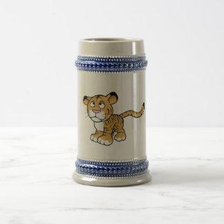 tigre del dibujo animado jarra de cerveza