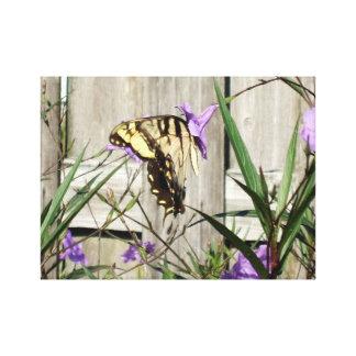 Tigre del este Swallowtail en petunias mexicanas Impresión En Lienzo