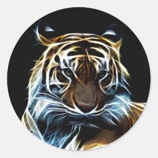 Tigre del fractal pegatina redonda