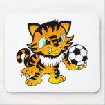 Tigre del fútbol alfombrilla de raton