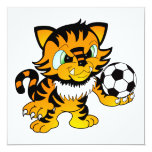 Tigre del fútbol invitación 13,3 cm x 13,3cm