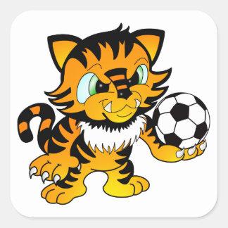 Tigre del fútbol calcomanía cuadradase
