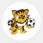 Tigre del fútbol pegatina redonda