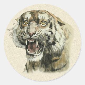 Tigre del gruñido pegatina redonda