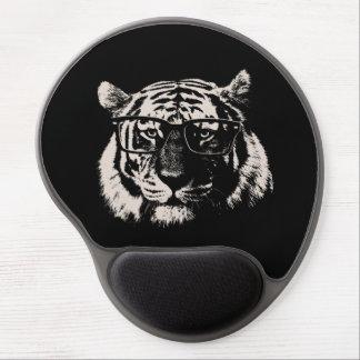 Tigre del inconformista con los vidrios alfombrilla de ratón con gel
