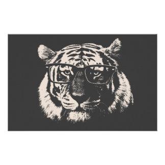Tigre del inconformista con los vidrios papeleria
