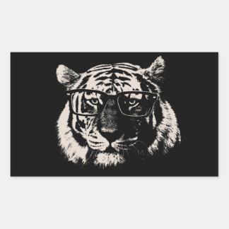Tigre del inconformista con los vidrios rectangular pegatinas