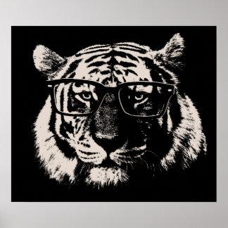 Tigre del inconformista con los vidrios póster