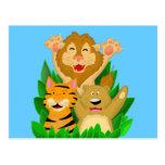 Tigre del león y postal del dibujo animado del oso